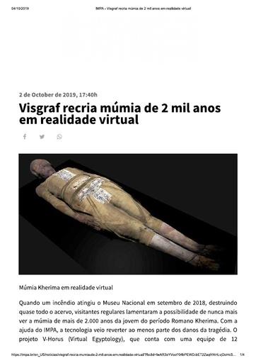 Visgraf recria múmia de 2 mil anos em realidade virtual