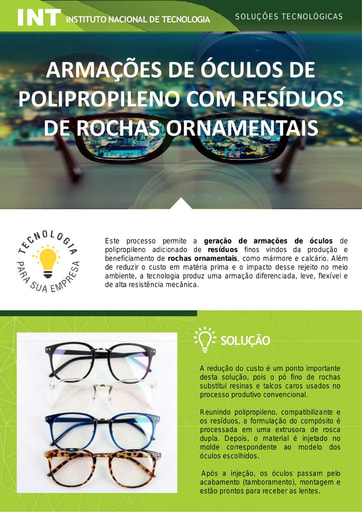 Armações de Óculos de Polipropileno com Resíduos de Rochas Ornamentais